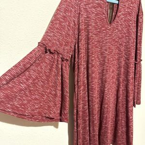 Boutique - stretchy bell sleeve maroon dress